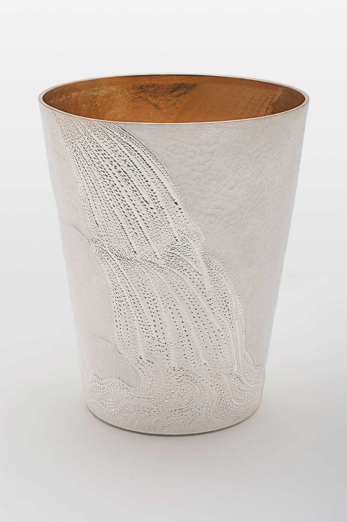 Waterfall Beaker, 958 Britannia Silver, 18ct gold plating. New College Oxford.