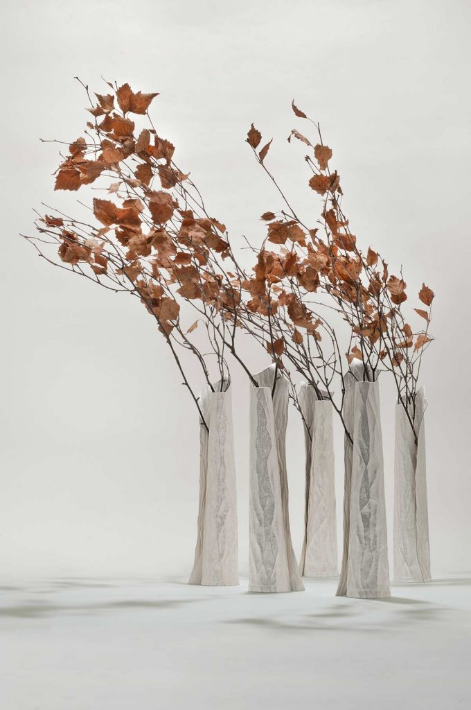 Among the Trees, 999 fine silver, glass vials, H.24cm