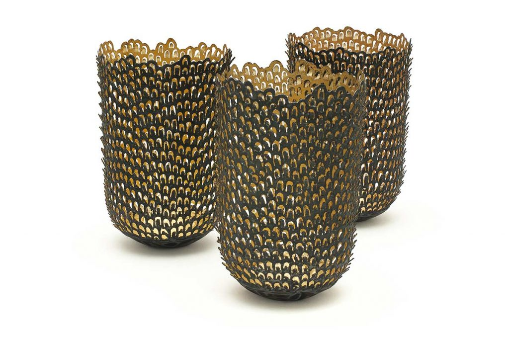 Teasel Vessels, steel (re-formed tin-cans), 24ct gold, H.11cm