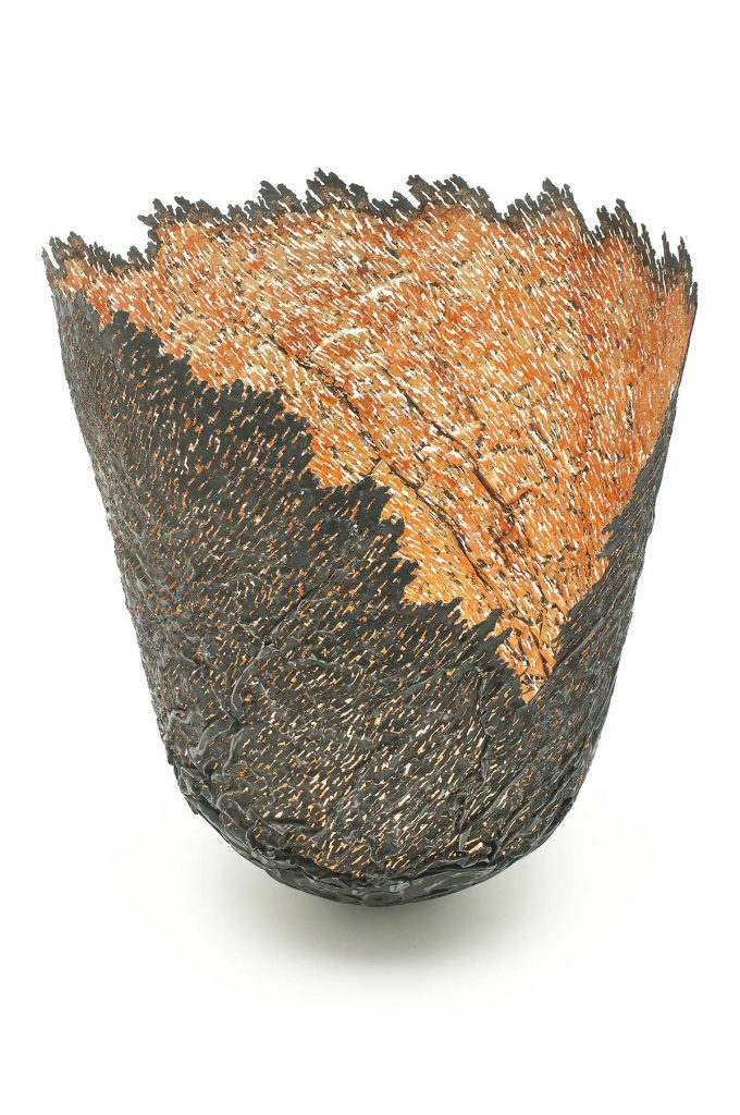 Ridged Vessel, steel (re-formed tin-can), 23ct red gold, copper. H.35cm. Manchester Art Gallery.