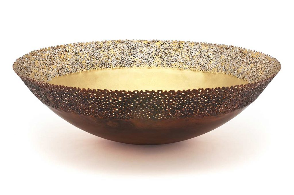 Eroded Copper Bowl, copper, 24ct gold, 12ct white gold, D.50cm