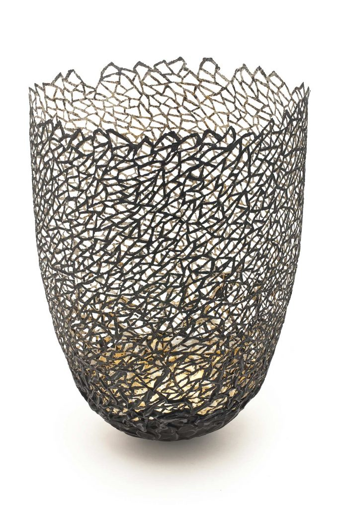 Winter Sketch Vessel, steel (re-formed tin-cans), 24ct gold, 12ct white gold, H.32cm.