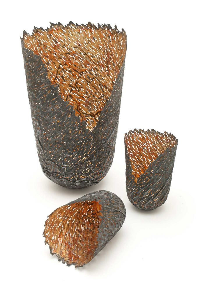 Ridged Vessels, steel (re-formed tin-can), 23ct red gold, copper.