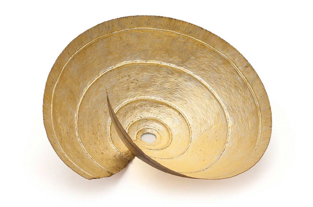 Spiral Form, copper, 24ct gold, 12ct white gold, D.50cm