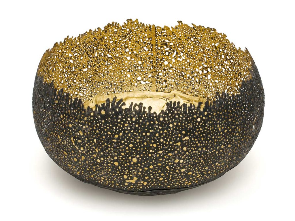 Eroded Bowl, steel (re-formed tin-can), 24ct gold