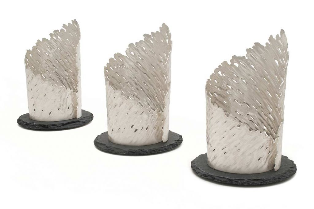 Forest Lights, 100% Recycled 925 Sterling Silver, slate, glass tea-light holders