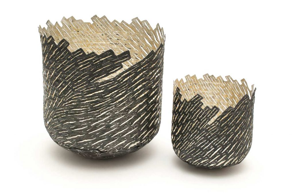 Small Marloes Strata Vessels, steel (re-formed tin-can), 24ct gold, 12ct white gold