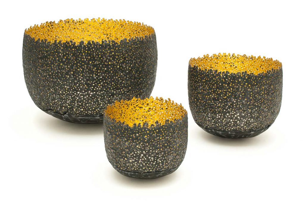 Eroded Bowls, steel (re-formed tin-can), 24ct gold