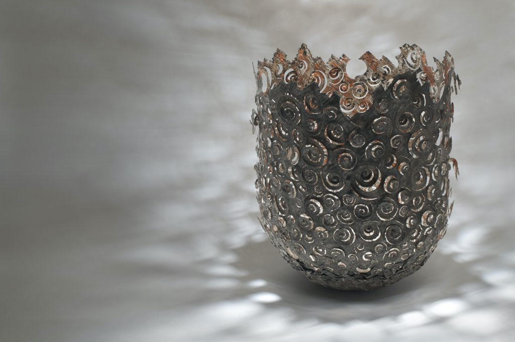 Ammonite Vessel, steel (re-formed steel can), 22ct moon gold, copper. Height 35cm